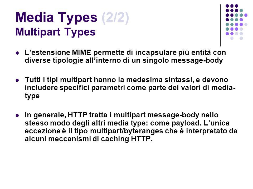 Media Types (2/2) Multipart Types Lestensione MIME permette di incapsulare più entità con diverse tipologie allinterno di un singolo message-body Tutt
