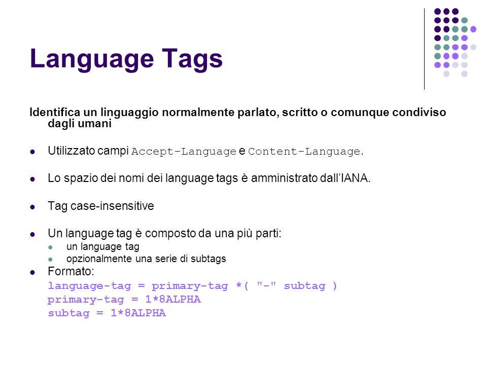 Language Tags Identifica un linguaggio normalmente parlato, scritto o comunque condiviso dagli umani Utilizzato campi Accept-Language e Content-Langua