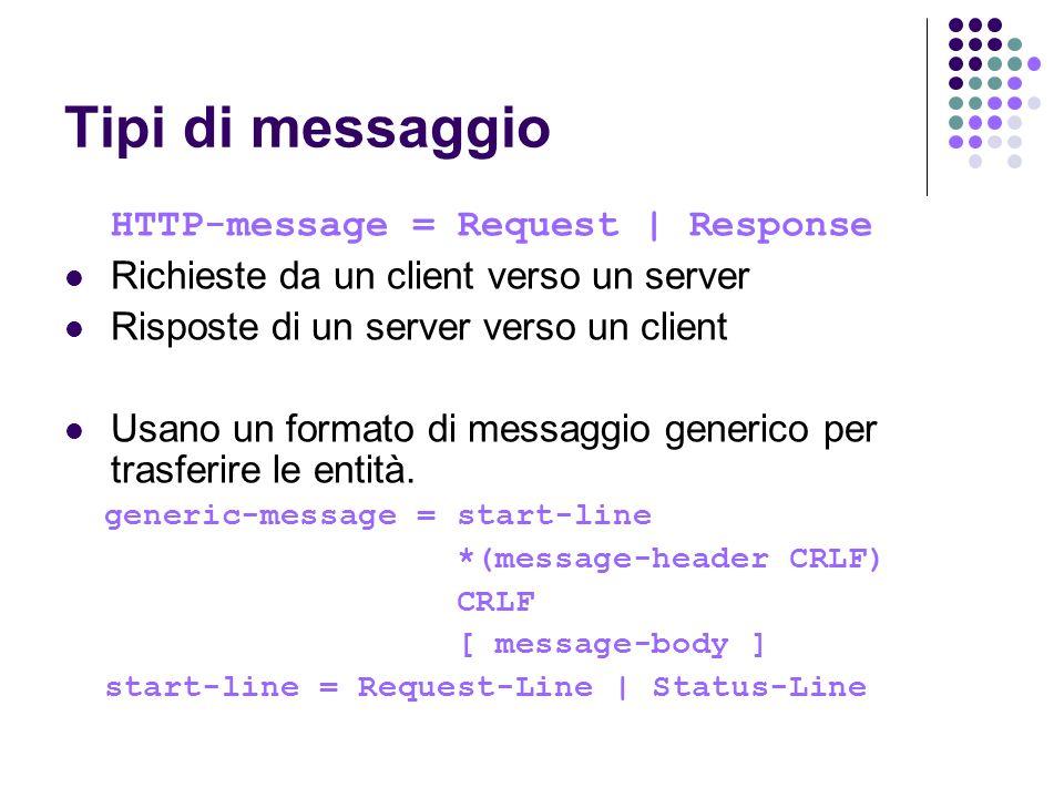 Tipi di messaggio HTTP-message = Request | Response Richieste da un client verso un server Risposte di un server verso un client Usano un formato di m