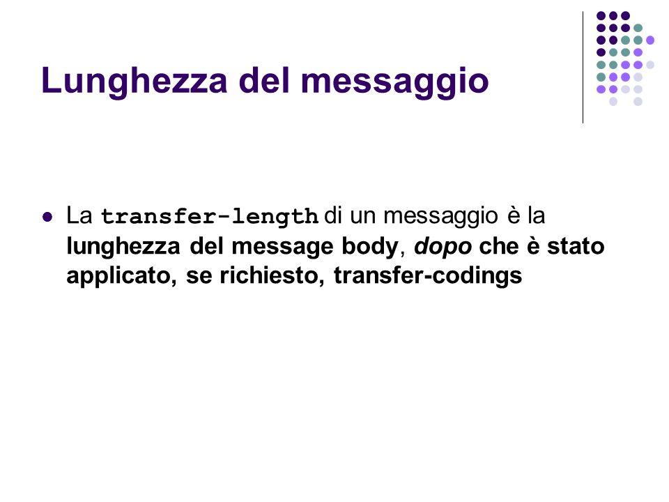 Lunghezza del messaggio La transfer-length di un messaggio è la lunghezza del message body, dopo che è stato applicato, se richiesto, transfer-codings