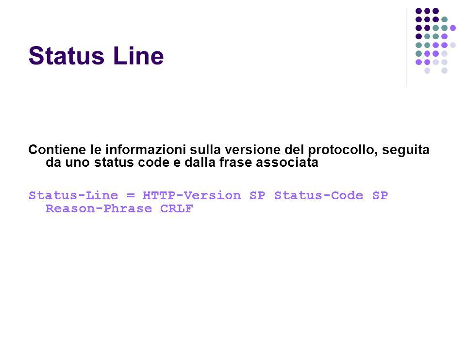 Status Line Contiene le informazioni sulla versione del protocollo, seguita da uno status code e dalla frase associata Status-Line = HTTP-Version SP S
