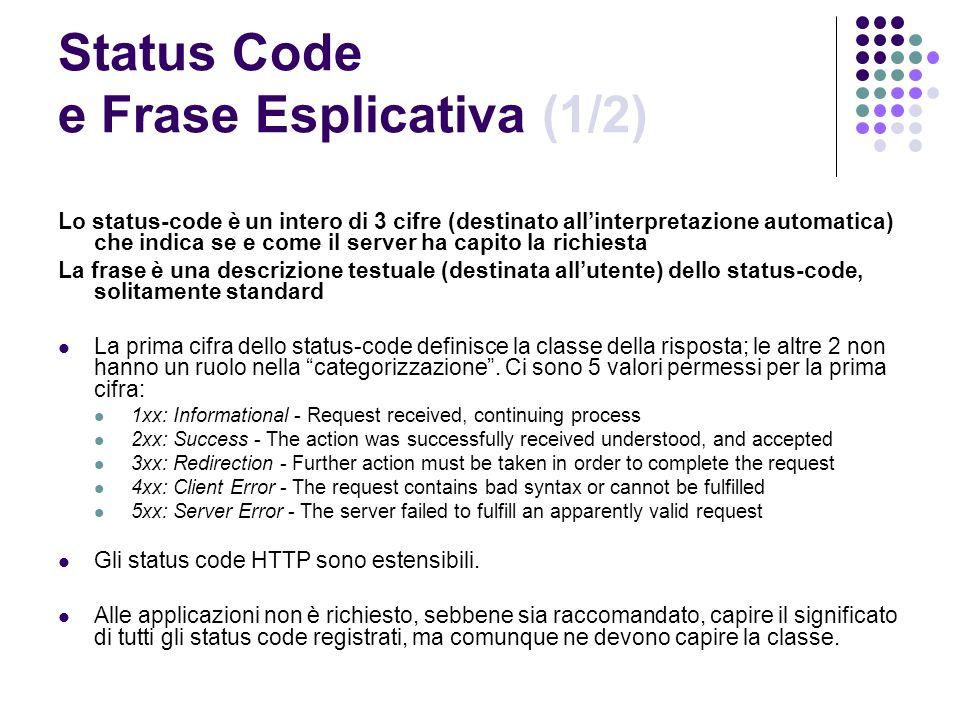 Status Code e Frase Esplicativa (1/2) Lo status-code è un intero di 3 cifre (destinato allinterpretazione automatica) che indica se e come il server h