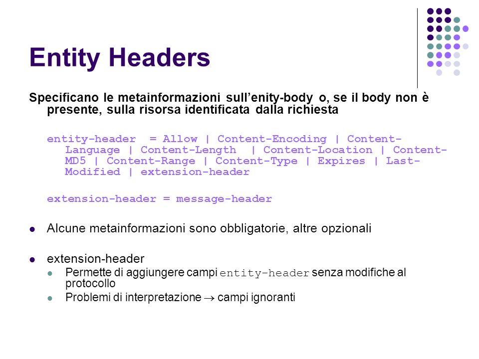 Entity Headers Specificano le metainformazioni sullenity-body o, se il body non è presente, sulla risorsa identificata dalla richiesta entity-header =