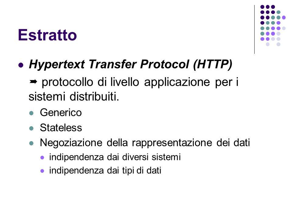 Estratto Hypertext Transfer Protocol (HTTP) protocollo di livello applicazione per i sistemi distribuiti. Generico Stateless Negoziazione della rappre