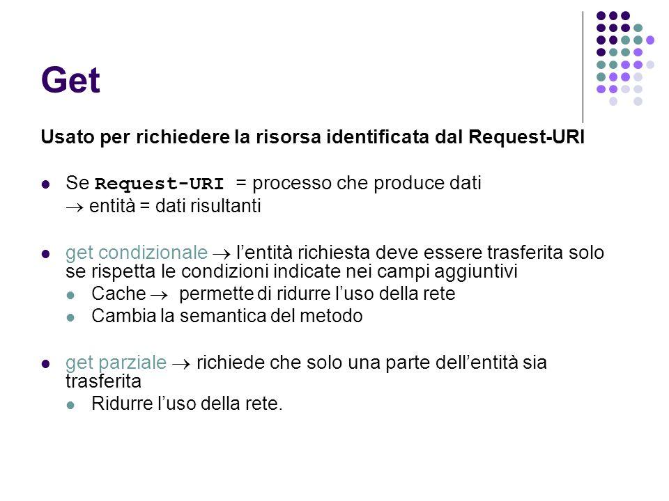 Get Usato per richiedere la risorsa identificata dal Request-URI Se Request-URI = processo che produce dati entità = dati risultanti get condizionale