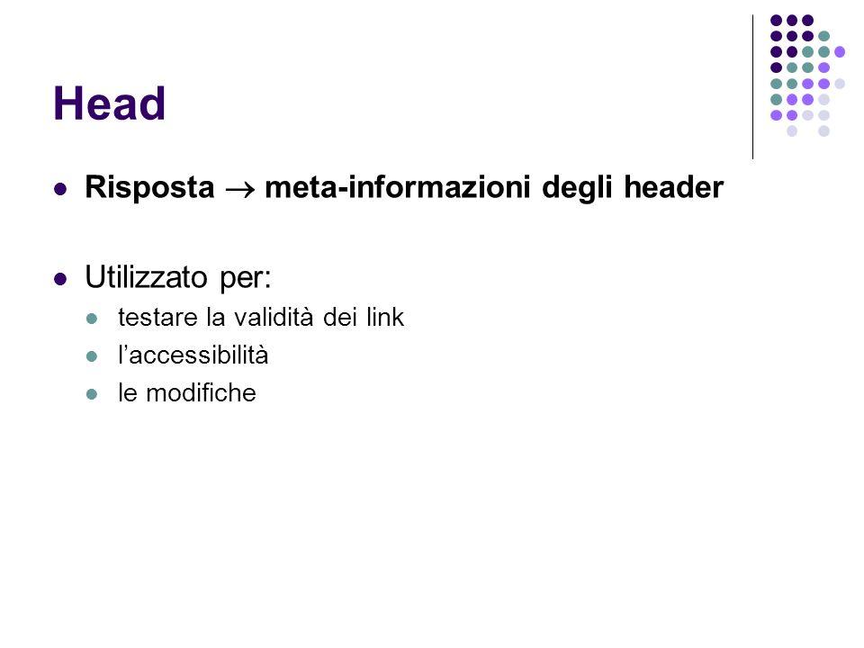 Head Risposta meta-informazioni degli header Utilizzato per: testare la validità dei link laccessibilità le modifiche
