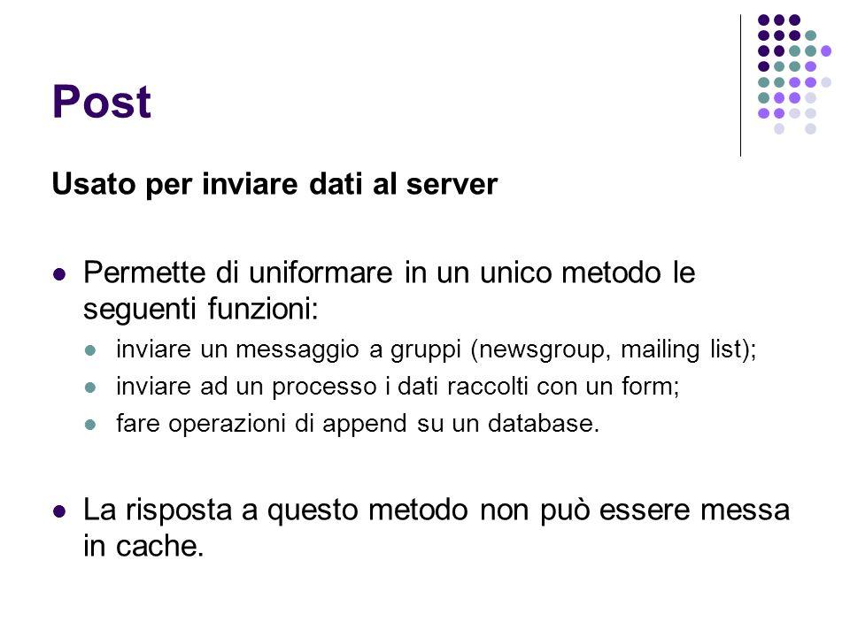 Post Usato per inviare dati al server Permette di uniformare in un unico metodo le seguenti funzioni: inviare un messaggio a gruppi (newsgroup, mailin