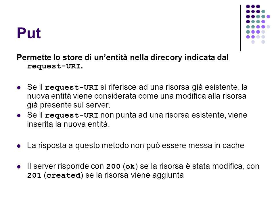 Put Permette lo store di unentità nella direcory indicata dal request-URI. Se il request-URI si riferisce ad una risorsa già esistente, la nuova entit