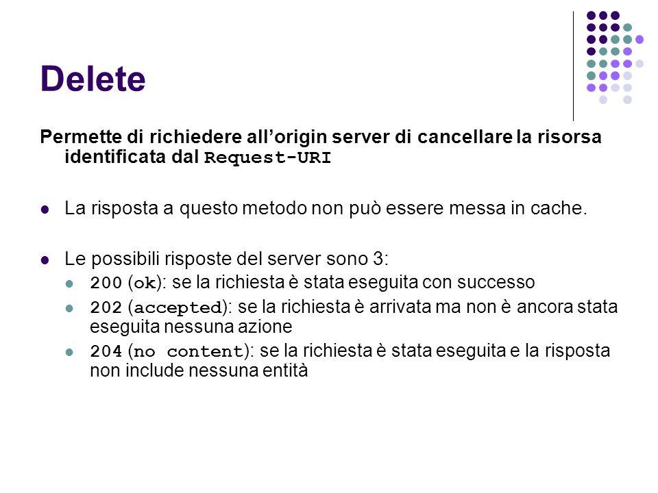 Delete Permette di richiedere allorigin server di cancellare la risorsa identificata dal Request-URI La risposta a questo metodo non può essere messa