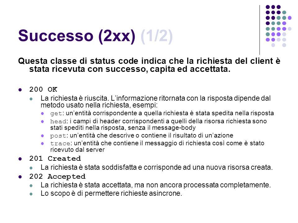 Successo (2xx) (1/2) Questa classe di status code indica che la richiesta del client è stata ricevuta con successo, capita ed accettata. 200 OK La ric