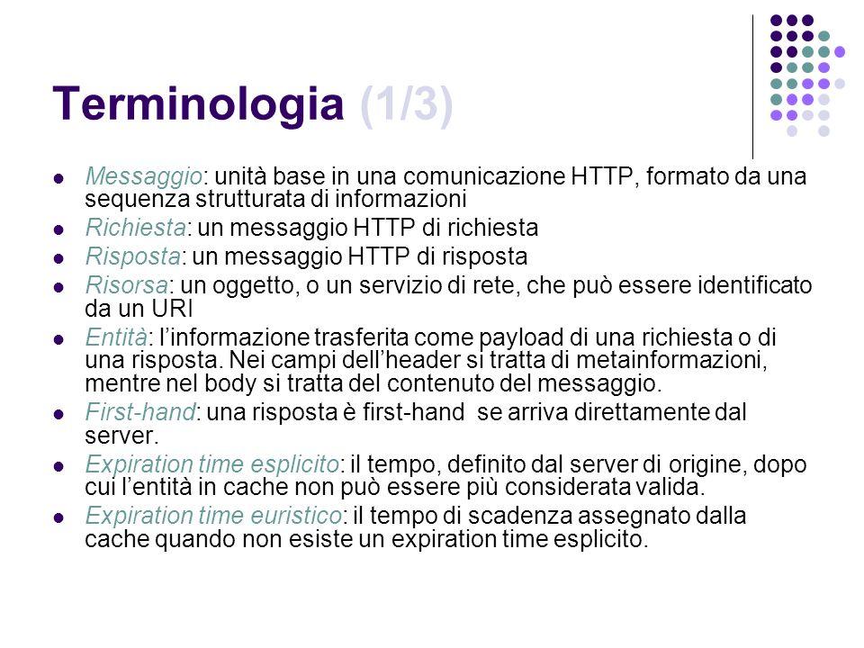 Terminologia (1/3) Messaggio: unità base in una comunicazione HTTP, formato da una sequenza strutturata di informazioni Richiesta: un messaggio HTTP d