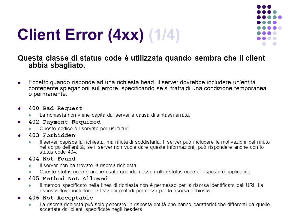 Client Error (4xx) (1/4) Questa classe di status code è utilizzata quando sembra che il client abbia sbagliato. Eccetto quando risponde ad una richies
