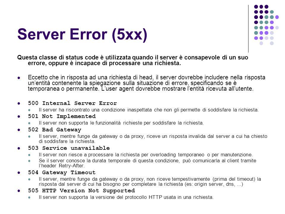 Server Error (5xx) Questa classe di status code è utilizzata quando il server è consapevole di un suo errore, oppure è incapace di processare una rich