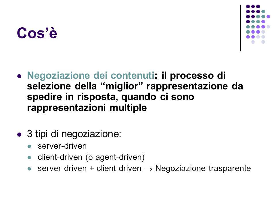 Cosè Negoziazione dei contenuti: il processo di selezione della miglior rappresentazione da spedire in risposta, quando ci sono rappresentazioni multi