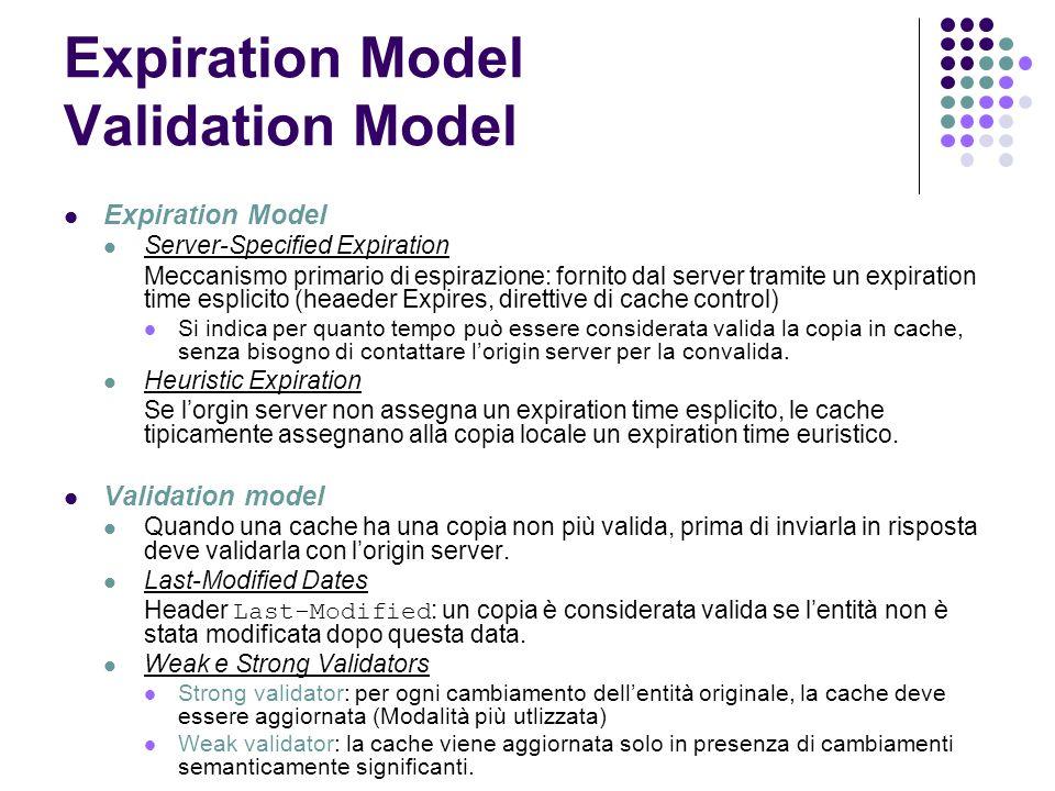 Expiration Model Validation Model Expiration Model Server-Specified Expiration Meccanismo primario di espirazione: fornito dal server tramite un expir
