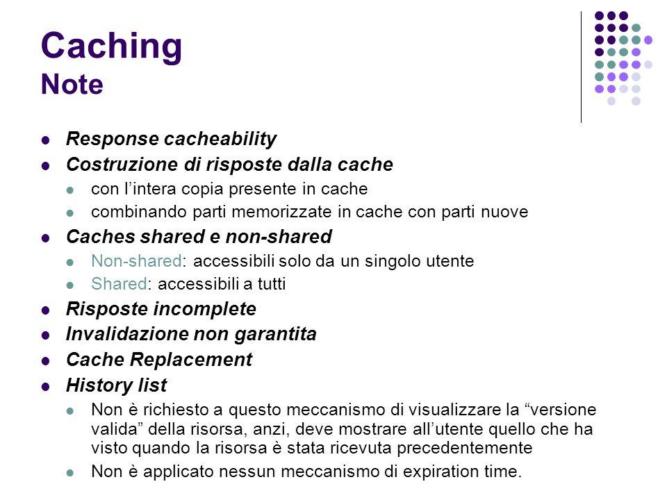 Caching Note Response cacheability Costruzione di risposte dalla cache con lintera copia presente in cache combinando parti memorizzate in cache con p
