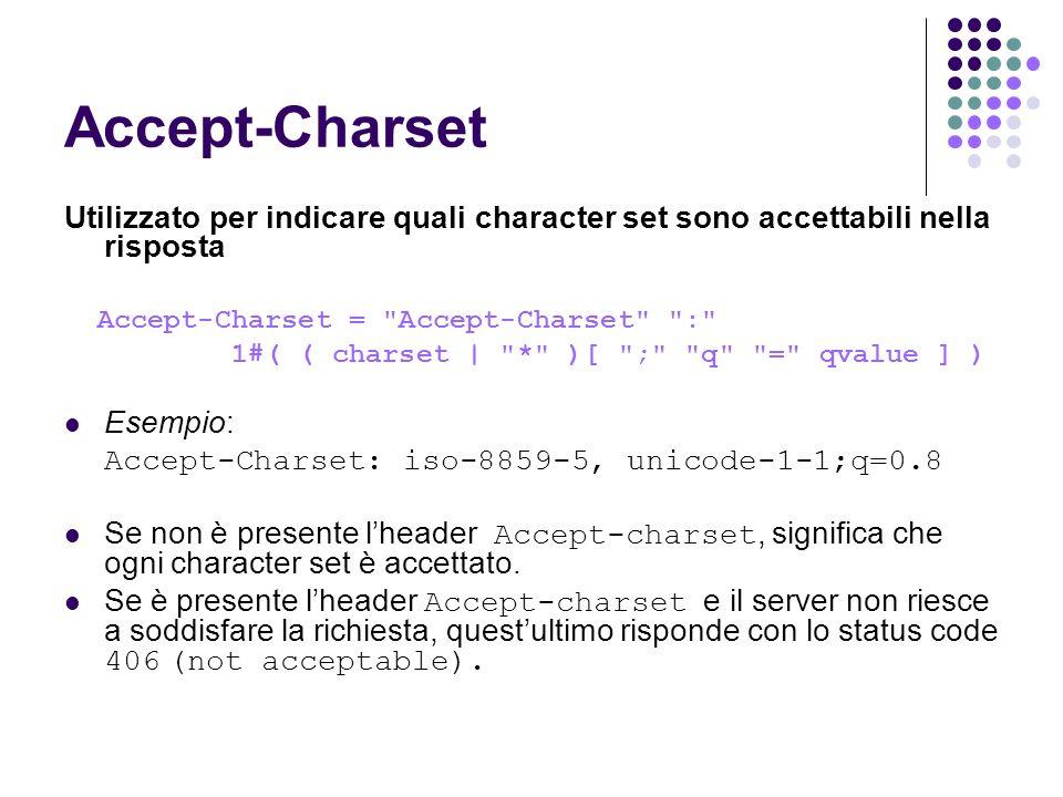 Accept-Charset Utilizzato per indicare quali character set sono accettabili nella risposta Accept-Charset =