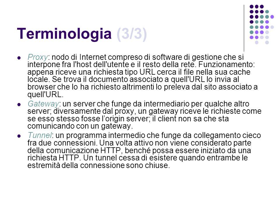 Terminologia (3/3) Proxy: nodo di Internet compreso di software di gestione che si interpone fra l'host dell'utente e il resto della rete. Funzionamen