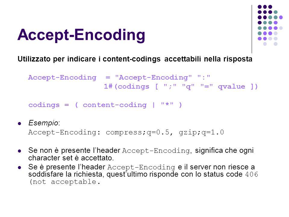 Accept-Encoding Utilizzato per indicare i content-codings accettabili nella risposta Accept-Encoding =