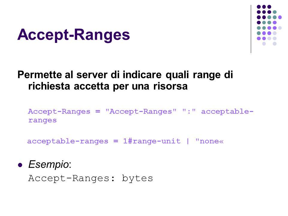 Accept-Ranges Permette al server di indicare quali range di richiesta accetta per una risorsa Accept-Ranges =