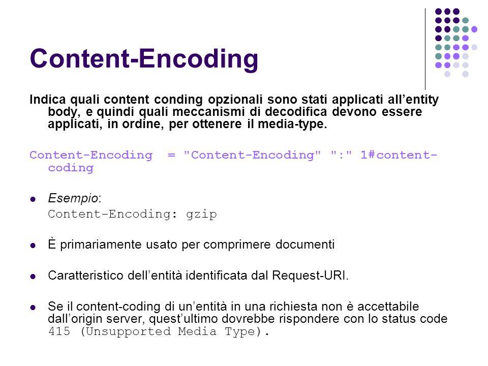 Content-Encoding Indica quali content conding opzionali sono stati applicati allentity body, e quindi quali meccanismi di decodifica devono essere app