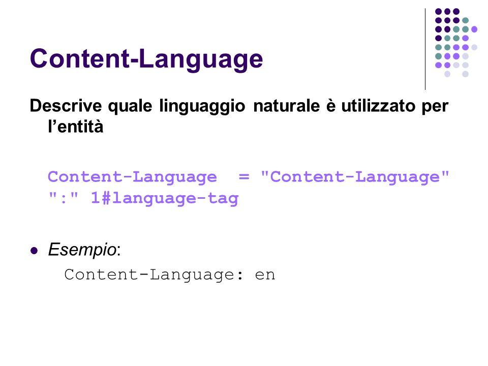 Content-Language Descrive quale linguaggio naturale è utilizzato per lentità Content-Language =