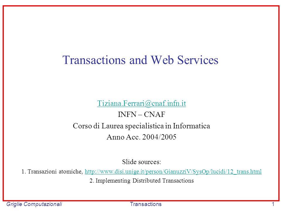 Griglie ComputazionaliTransactions1 Transactions and Web Services Tiziana.Ferrari@cnaf.infn.it INFN – CNAF Corso di Laurea specialistica in Informatica Anno Acc.