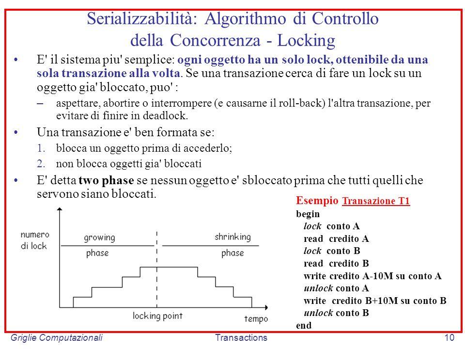 Griglie ComputazionaliTransactions10 Serializzabilità: Algorithmo di Controllo della Concorrenza - Locking E il sistema piu semplice: ogni oggetto ha un solo lock, ottenibile da una sola transazione alla volta.