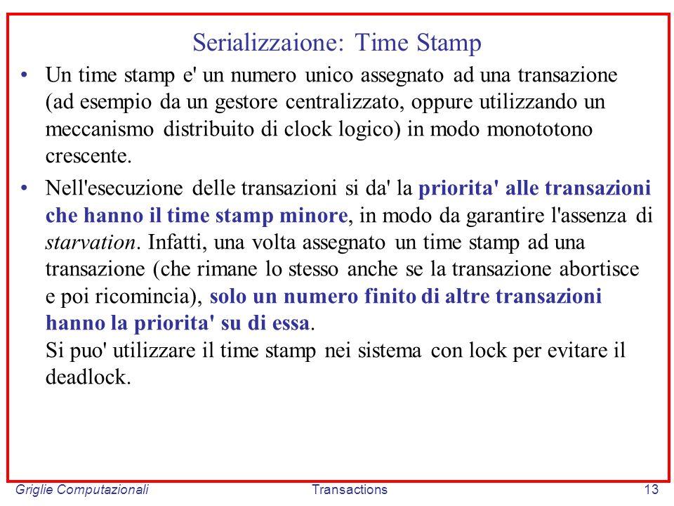 Griglie ComputazionaliTransactions13 Serializzaione: Time Stamp Un time stamp e un numero unico assegnato ad una transazione (ad esempio da un gestore centralizzato, oppure utilizzando un meccanismo distribuito di clock logico) in modo monototono crescente.