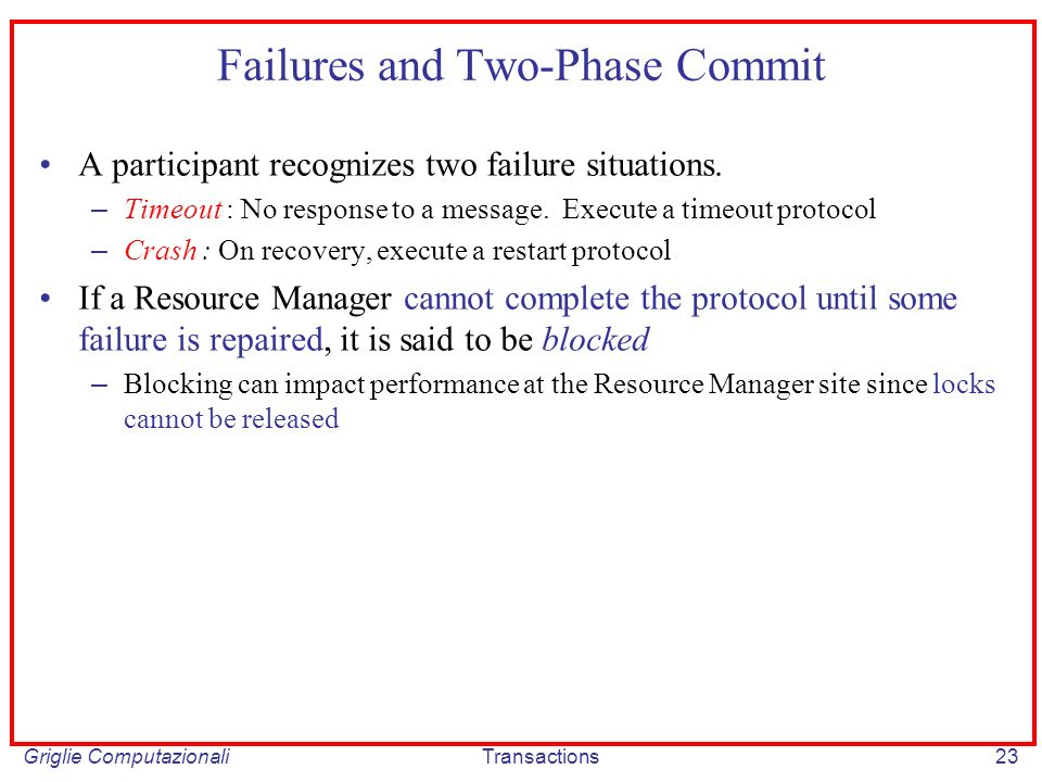 Griglie ComputazionaliTransactions23 Failures and Two-Phase Commit A participant recognizes two failure situations.