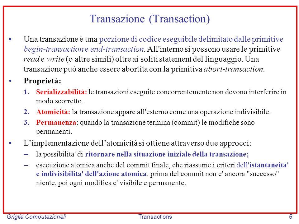 Griglie ComputazionaliTransactions6 Serializzabilità e Permanenza SERIALIZZABILITA – Se due o più transazioni sono eseguite in modo concorrente, il risultato finale deve essere lo stesso di quello ottenuto eseguendo le transazioni in un qualche ordine sequenziale.