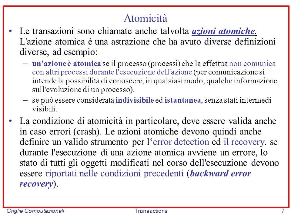 Griglie ComputazionaliTransactions7 Atomicità Le transazioni sono chiamate anche talvolta azioni atomiche.