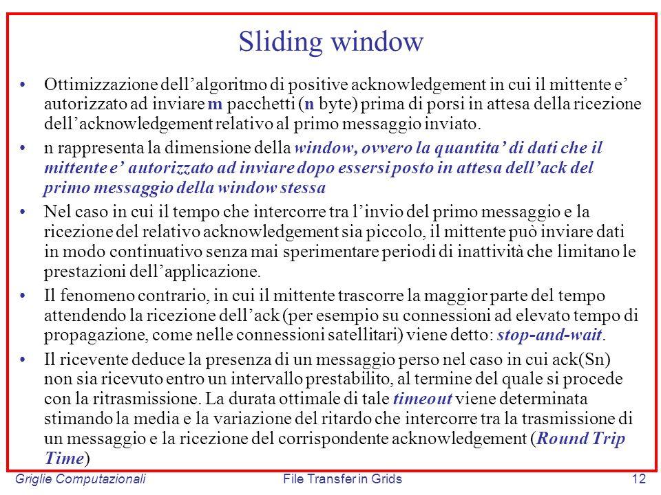Griglie ComputazionaliFile Transfer in Grids12 Sliding window Ottimizzazione dellalgoritmo di positive acknowledgement in cui il mittente e autorizzat