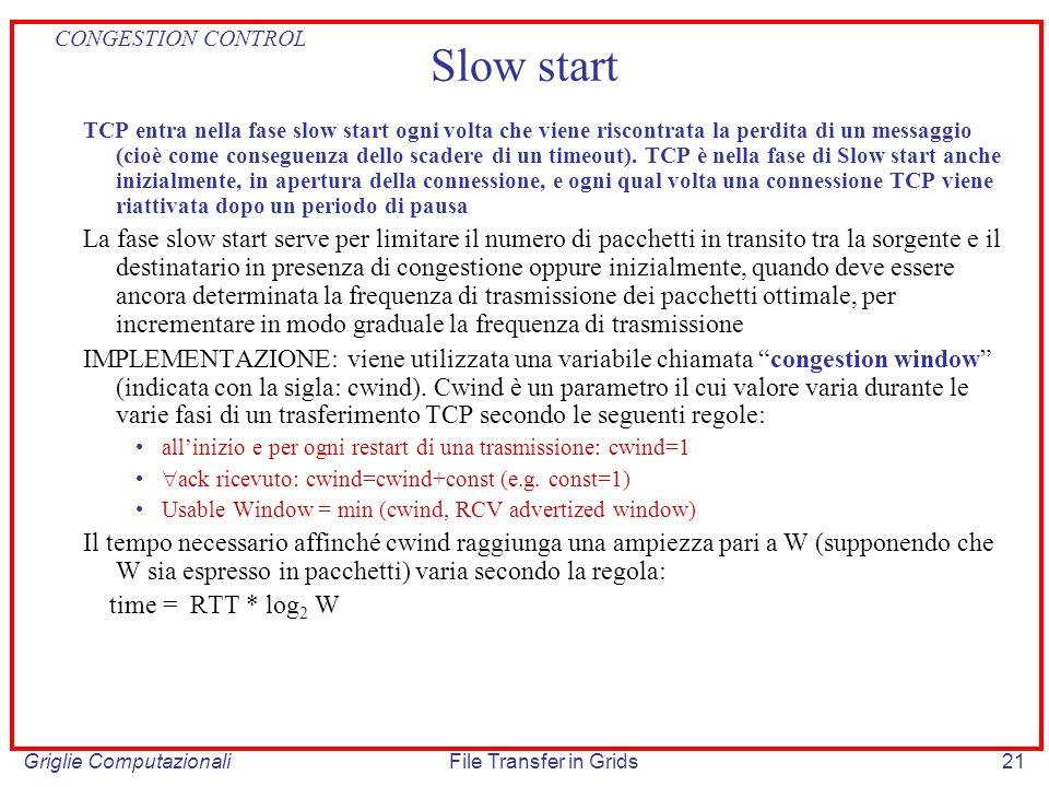 Griglie ComputazionaliFile Transfer in Grids21 Slow start TCP entra nella fase slow start ogni volta che viene riscontrata la perdita di un messaggio
