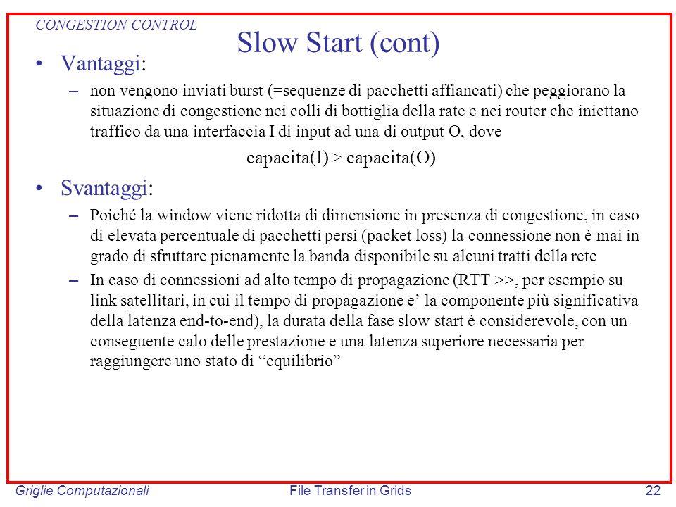 Griglie ComputazionaliFile Transfer in Grids22 Slow Start (cont) Vantaggi: – non vengono inviati burst (=sequenze di pacchetti affiancati) che peggior
