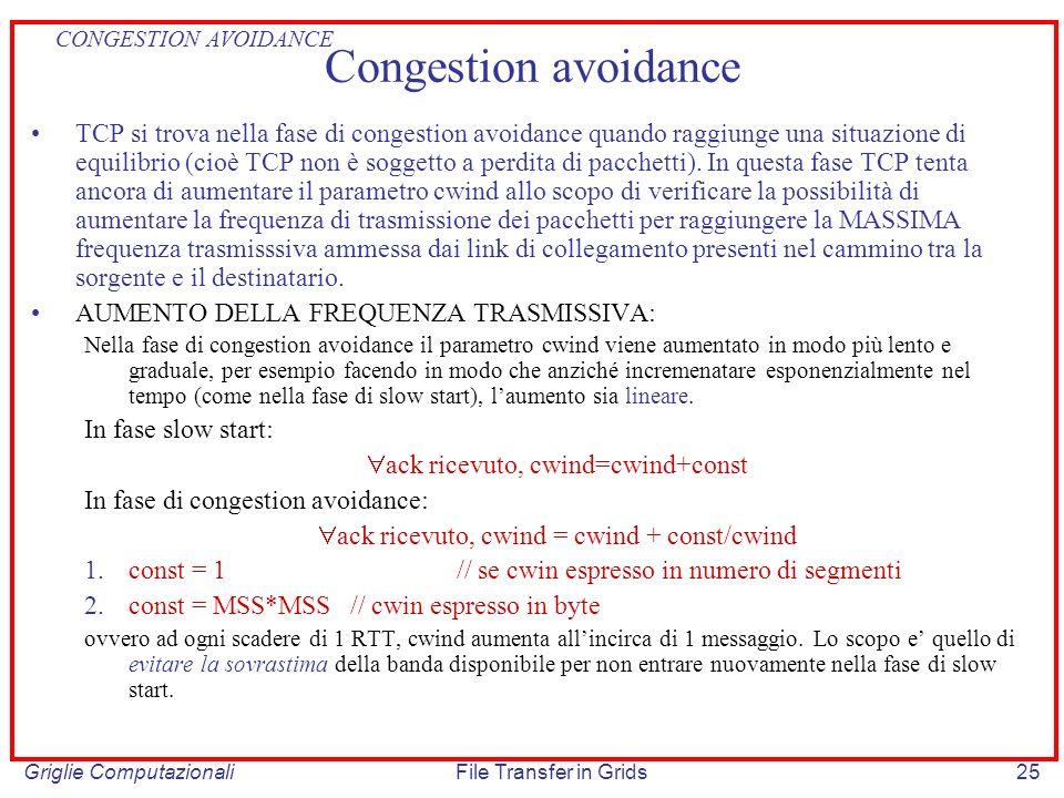 Griglie ComputazionaliFile Transfer in Grids25 Congestion avoidance TCP si trova nella fase di congestion avoidance quando raggiunge una situazione di