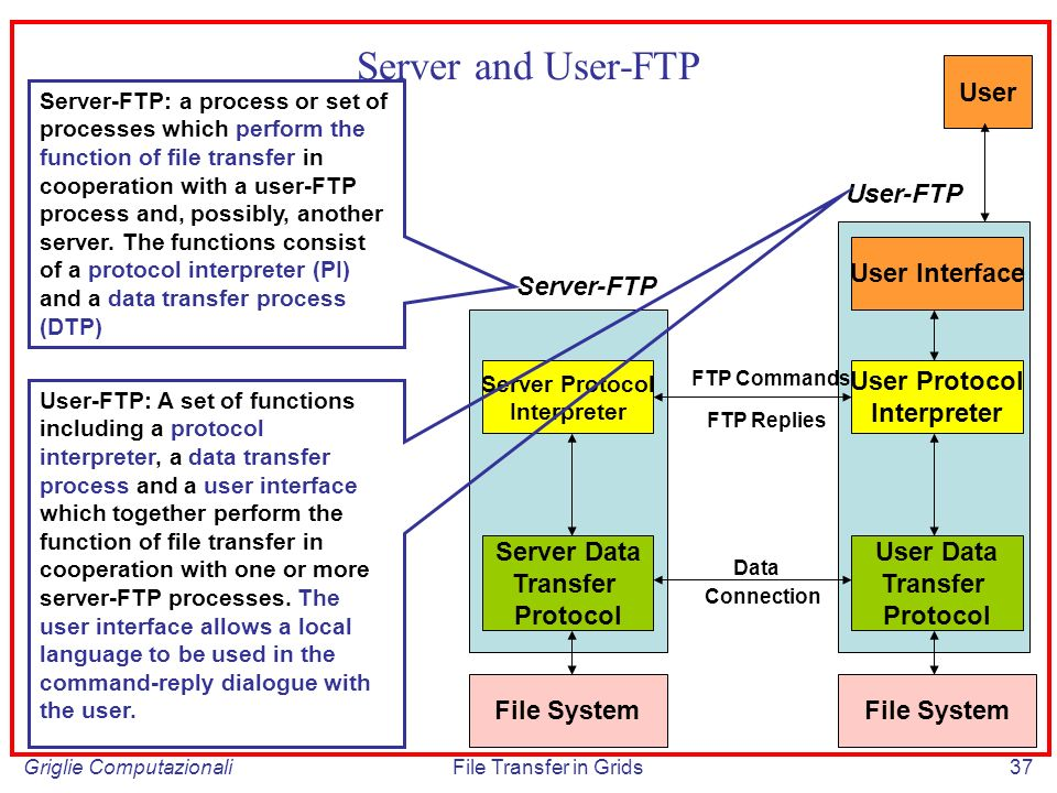Griglie ComputazionaliFile Transfer in Grids37 Server and User-FTP Server Protocol Interpreter Server Data Transfer Protocol User Protocol Interpreter User Data Transfer Protocol FTP Commands FTP Replies Connection Data File System User Interface User Server-FTP User-FTP Server-FTP: a process or set of processes which perform the function of file transfer in cooperation with a user-FTP process and, possibly, another server.