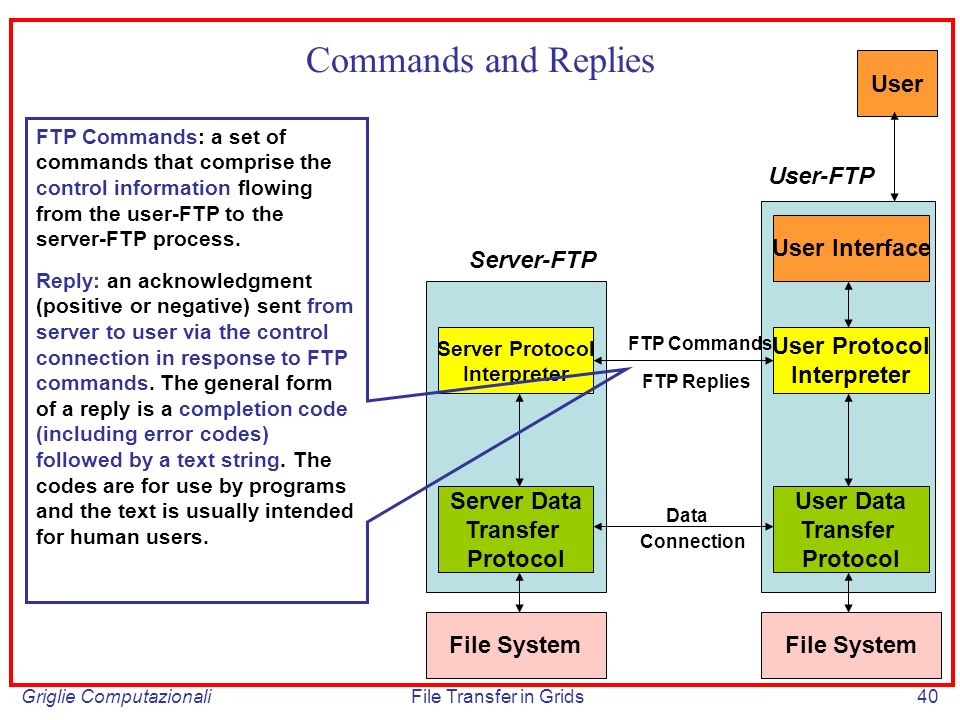 Griglie ComputazionaliFile Transfer in Grids40 Commands and Replies Server Protocol Interpreter Server Data Transfer Protocol User Protocol Interpreter User Data Transfer Protocol FTP Commands FTP Replies Connection Data File System User Interface User Server-FTP User-FTP FTP Commands: a set of commands that comprise the control information flowing from the user-FTP to the server-FTP process.