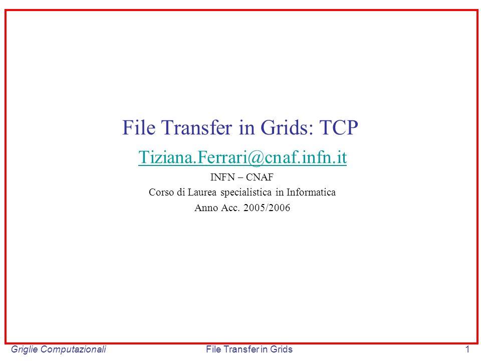 Griglie ComputazionaliFile Transfer in Grids22 Sliding window (cont) P1P2 100by P3P4P5P6 ACK(s1) ACK(s2)ACK(s3)ACK(s4)ACK(s5) timeout t t Sn: numero di sequenza dellultimo byte delln-esimo messaggio; il numero di sequenza Iniziale del primo byte nel flusso di dati viene definito in fase di call set-up Ipotesi: ogni messaggio ha lunghezza costante di 100 by, la dimensione della window e costante e pari a 400 by.