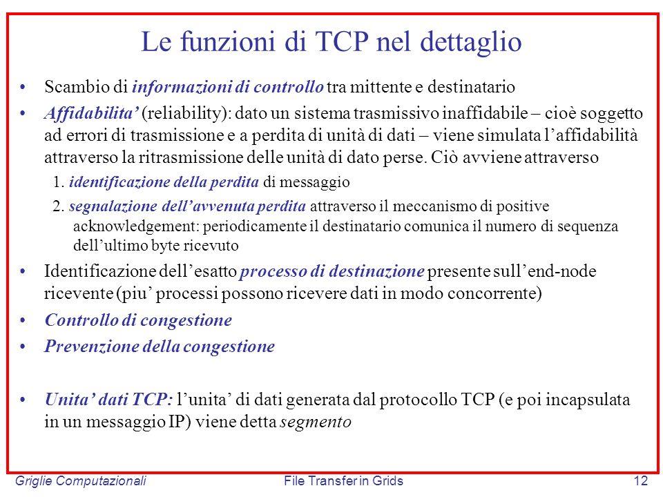 Griglie ComputazionaliFile Transfer in Grids12 Le funzioni di TCP nel dettaglio Scambio di informazioni di controllo tra mittente e destinatario Affid