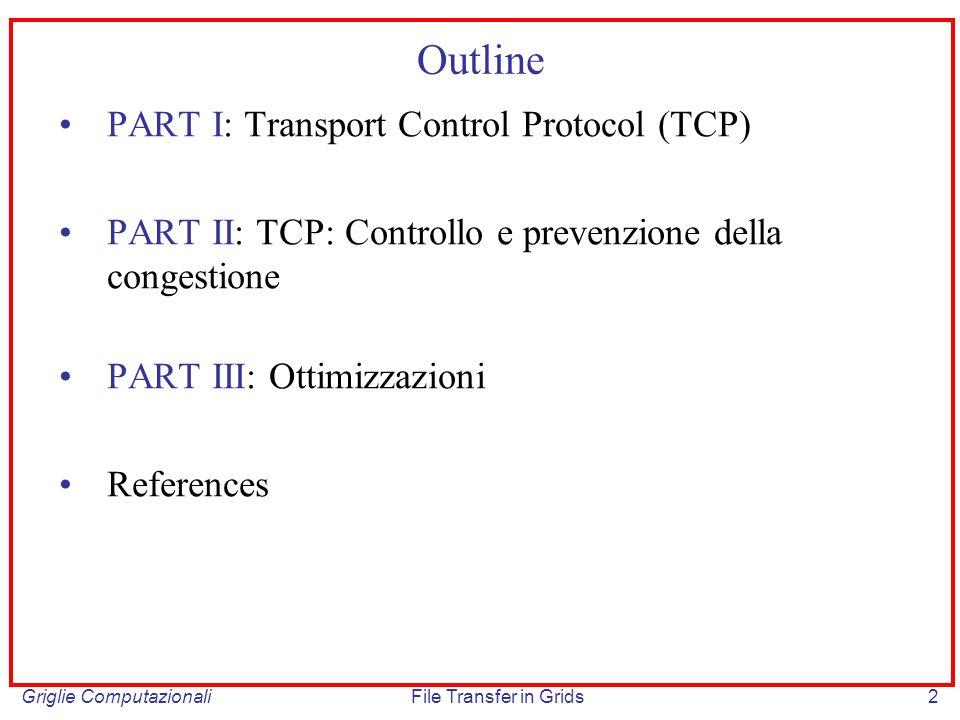 Griglie ComputazionaliFile Transfer in Grids33 Slow Start (cont) Vantaggi: – non vengono inviati burst (=sequenze di pacchetti affiancati) che peggiorano la situazione di congestione nei colli di bottiglia della rate e nei router che iniettano traffico da una interfaccia I di input ad una di output O, dove capacita(I) > capacita(O) Svantaggi: – Poiché la window viene ridotta di dimensione in presenza di congestione, in caso di elevata percentuale di pacchetti persi (packet loss) la connessione non è mai in grado di sfruttare pienamente la banda disponibile su alcuni tratti della rete – In caso di connessioni ad alto tempo di propagazione (RTT >>, per esempio su link satellitari, in cui il tempo di propagazione e la componente più significativa della latenza end-to-end), la durata della fase slow start è considerevole, con un conseguente calo delle prestazione e una latenza superiore necessaria per raggiungere uno stato di equilibrio CONGESTION CONTROL
