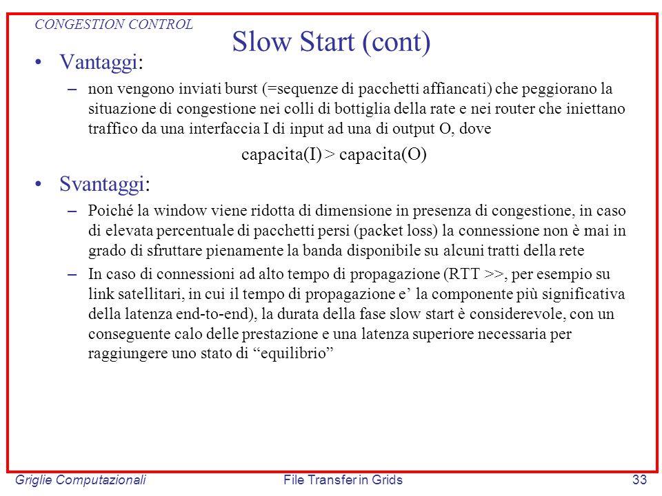 Griglie ComputazionaliFile Transfer in Grids33 Slow Start (cont) Vantaggi: – non vengono inviati burst (=sequenze di pacchetti affiancati) che peggior