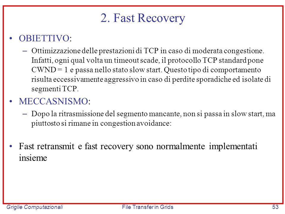 Griglie ComputazionaliFile Transfer in Grids53 2. Fast Recovery OBIETTIVO: – Ottimizzazione delle prestazioni di TCP in caso di moderata congestione.