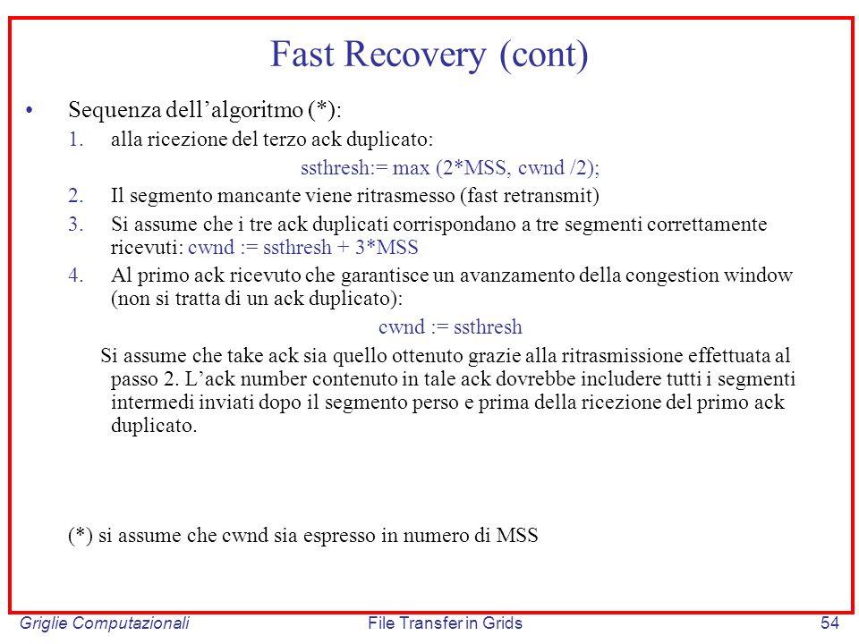 Griglie ComputazionaliFile Transfer in Grids54 Fast Recovery (cont) Sequenza dellalgoritmo (*): 1.alla ricezione del terzo ack duplicato: ssthresh:= m