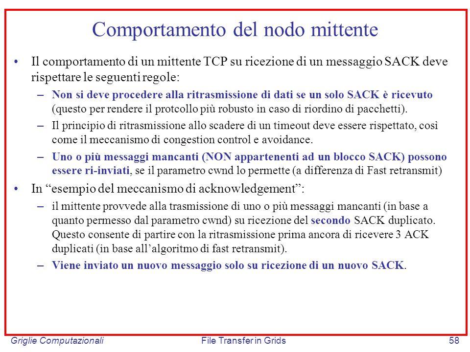 Griglie ComputazionaliFile Transfer in Grids58 Comportamento del nodo mittente Il comportamento di un mittente TCP su ricezione di un messaggio SACK d
