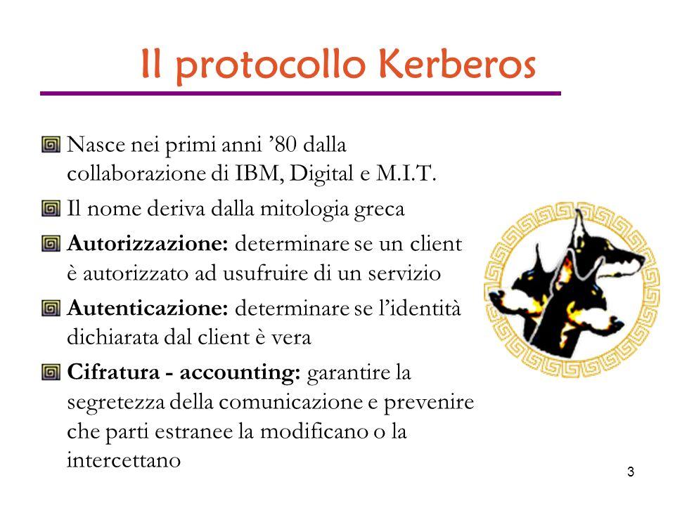 3 Il protocollo Kerberos Nasce nei primi anni 80 dalla collaborazione di IBM, Digital e M.I.T.