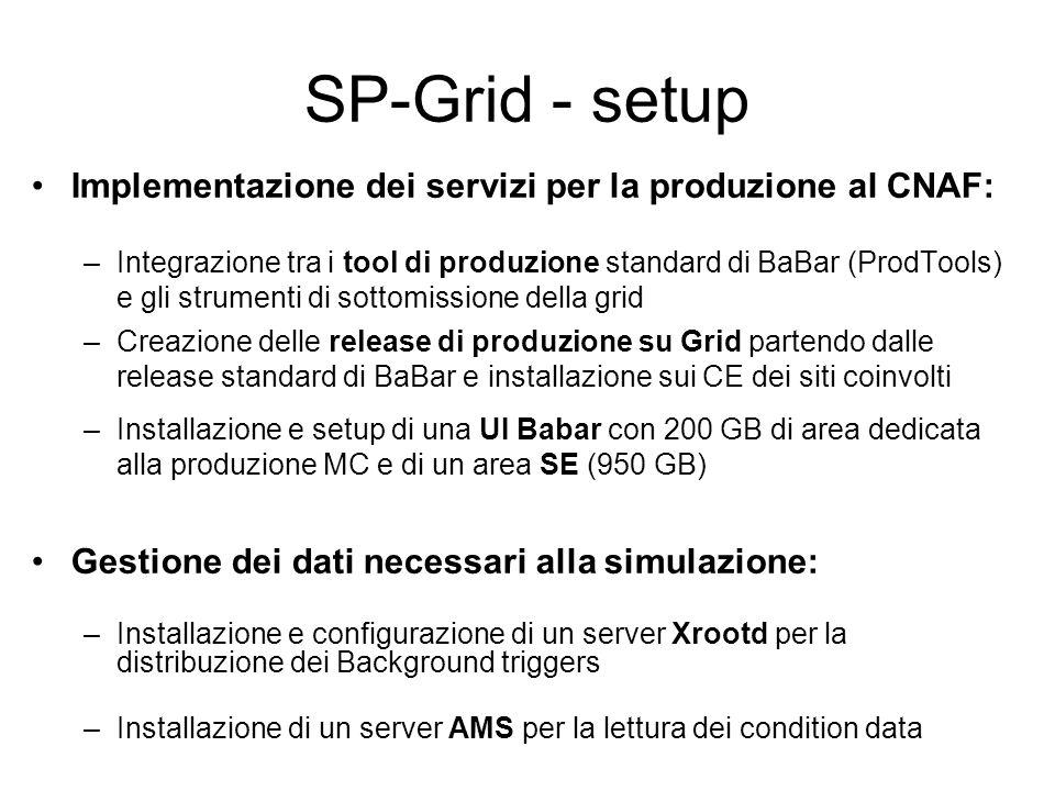 SP-Grid - setup Implementazione dei servizi per la produzione al CNAF: –Integrazione tra i tool di produzione standard di BaBar (ProdTools) e gli strumenti di sottomissione della grid –Creazione delle release di produzione su Grid partendo dalle release standard di BaBar e installazione sui CE dei siti coinvolti –Installazione e setup di una UI Babar con 200 GB di area dedicata alla produzione MC e di un area SE (950 GB) Gestione dei dati necessari alla simulazione: –Installazione e configurazione di un server Xrootd per la distribuzione dei Background triggers –Installazione di un server AMS per la lettura dei condition data