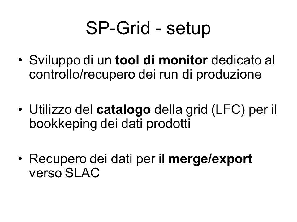SP-Grid - setup Sviluppo di un tool di monitor dedicato al controllo/recupero dei run di produzione Utilizzo del catalogo della grid (LFC) per il bookkeping dei dati prodotti Recupero dei dati per il merge/export verso SLAC