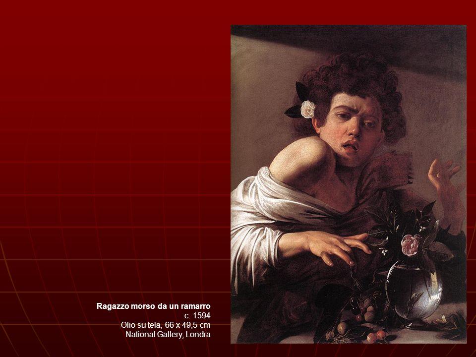Davide con la testa di Golia - 1605-1606 Olio su tela (cm 125x101) Roma, Galleria Borghese Nell immagine di Davide, Caravaggio rende omaggio alle pennellate guizzanti dell ultimo Tiziano e accompagna il volto del giovane con una specie di alone luminoso che riverbera nelle fosche tinte terree intorno alla figura.