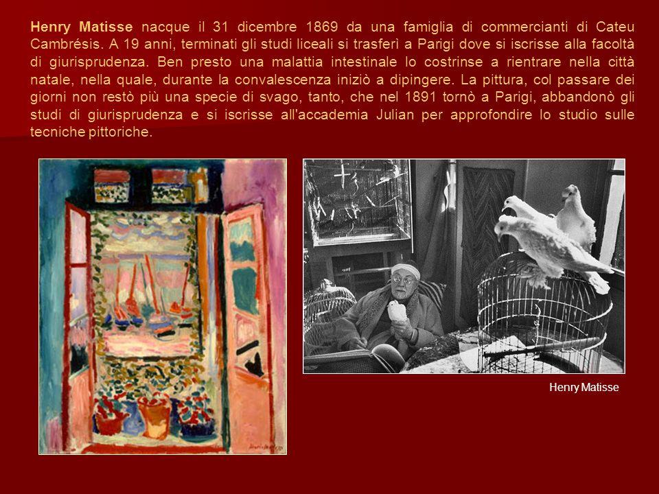 Henry Matisse nacque il 31 dicembre 1869 da una famiglia di commercianti di Cateu Cambrésis. A 19 anni, terminati gli studi liceali si trasferì a Pari
